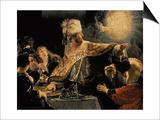 Belshazzar's Feast circa 1636-38 Poster by  Rembrandt van Rijn