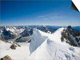 The Summit of the 4000 Meter Peak of Mont Blanc Du Tacul Above Chamonix France Poster by Ashley Cooper