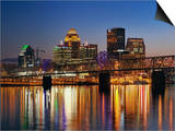 Skyline, Louisville, Kentucky at Dusk Poster by Adam Jones