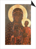 The Black Madonna of Jasna Gora, Byzantine-Russian Icon, 14th Century Print