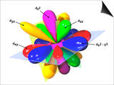 The Five D Orbitals in 2 Form, with Combination Diagram Showing How They Fit Together Posters by Carol & Mike Werner