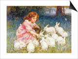 Feeding the Rabbits Prints by Frederick Morgan