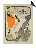 "Reproduction of a Poster Advertising ""Jane Avril"" at the Jardin De Paris, 1893 Prints by Henri de Toulouse-Lautrec"