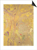 Tree Against a Yellow Background Poster by Odilon Redon