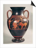 Attic Red-Figure Belly Amphora of Herakles Capturing Kerberus, Greek, from Athens, 6th Century B Prints by  Andokides
