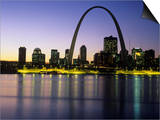 St Louis Arch and Skyline at Night Reflected on Mississippi River Poster by Adam Jones
