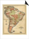 Antique Map of South America Print by Alvin Johnson