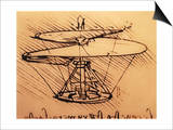 Design for Spiral Screw Enabling Vertical Flight Art by  Leonardo da Vinci