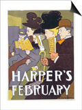 Harper's February, Poster Illustration Usa, 1897 Print by Edward Penfield