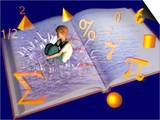 Illustration of a Boy Jumping into a Mathematics Textbook Prints by Carol & Mike Werner