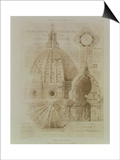 Plan, Section and Elevation of Florence Cathedral Prints by Eugene Duquesne