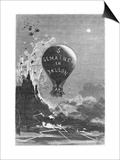 "Frontispiece to ""Five Weeks in a Balloon"" by Jules Verne Prints by Édouard Riou"