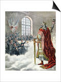 "St. Charlemagne, Patron Saint of School Children, from ""Le Petit Journal Illustre,"" 1892 Print"