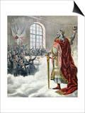 "St. Charlemagne, Patron Saint of School Children, from ""Le Petit Journal Illustre,"" 1892 Print"