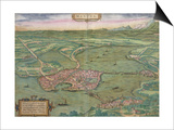 "Map of Mantua, from ""Civitates Orbis Terrarum"" by Georg Braun and Frans Hogenberg, 1575 Posters by Joris Hoefnagel"