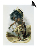 Pehriska-Ruhpa, Minatarre Warrior in the Costume of the Dog Dance Prints by Karl Bodmer
