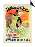 Reproduction of a Poster Advertising the 1896 Carnival at the Theatre De L'Opera Posters af Jules Chéret