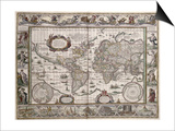 "World Map, from ""Le Theatre Du Monde"" or ""Nouvel Atlas,"" 1645 Prints by Willem Janszoon Blaeu"
