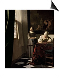 Lady Writing a Letter with Her Maid, circa 1670 Poster by Jan Vermeer