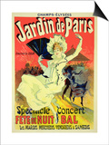 "Reproduction of a Poster Advertising the ""Jardin De Paris"" on the Chanps Elysees, 1890 Posters by Jules Chéret"