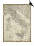 Antique Map of Italy Poster by  Vision Studio