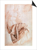 Recto Study of Drapery Art by  Michelangelo Buonarroti
