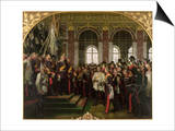 The Proclamation of Wilhelm as Kaiser of the New German Reich, in the Hall of Mirrors at Versailles Prints by Anton Alexander von Werner