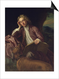 Alexander Pope and His Dog, Bounce, circa 1718 Posters by Jonathan Richardson