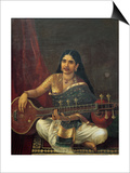 Young Woman with a Veena Poster von Raja Ravi Varma
