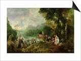 Embarkation for Cythera, 1717 Posters af Jean Antoine Watteau
