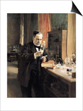 Louis Pasteur (1822-95) in His Laboratory, 1885 Prints by Albert Edelfelt