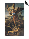 St. Michael Overwhelming the Demon, 1518 Prints by  Raphael