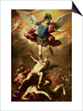 Archangel Michael Overthrows the Rebel Angel, circa 1660-65 Print by Luca Giordano
