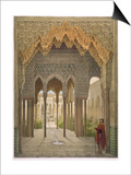 The Court of the Lions, the Alhambra, Granada, 1853 Print by Leon Auguste Asselineau