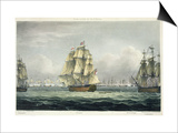 HMS Victory Sailing For French Line, Battle of Trafalgar, 1805, Engraved, T. Sutherland, Pub.1820 Poster by Thomas Whitcombe