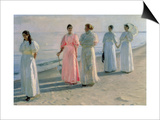 Promenade on the Beach Plakater af Michael Peter Ancher