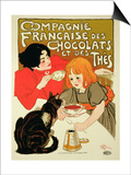 Reproduction of a Poster Advertising the French Company of Chocolate and Tea Prints by Théophile Alexandre Steinlen