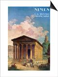 Poster Advertising Nimes, the French Rome, circa 1930 Poster par Hubert Robert