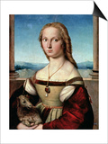 Portrait of a Young Woman with a Unicorn, circa 1505-6 Prints by  Raphael