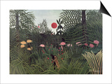 Negro Attacked by a Jaguar, 1910 Art by Henri Rousseau
