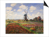 Tulip Fields with the Rijnsburg Windmill, 1886 Art by Claude Monet