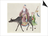 Lao-Tzu on His Buffalo, Followed by a Disciple Prints