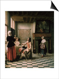 Interior, Woman Drinking with Two Men, circa 1658 Posters by Pieter de Hooch