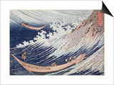 Two Small Fishing Boats on the Sea Print by Katsushika Hokusai