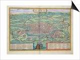 "Map of Rome, from ""Civitates Orbis Terrarum"" by Georg Braun and Frans Hogenberg, circa 1572 Prints by Joris Hoefnagel"