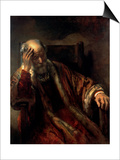 An Old Man in an Armchair, 17th Century Prints by  Rembrandt van Rijn