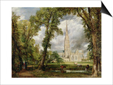 View of Salisbury Cathedral from the Bishop's Grounds, circa 1822 Prints by John Constable