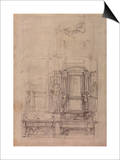W.26R Design for the Medici Chapel in the Church of San Lorenzo, Florence (Charcoal) Posters by  Michelangelo Buonarroti