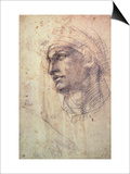Study of a Head (Charcoal) Inv.1895/9/15/498 (W.1) Posters by  Michelangelo Buonarroti