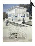 Villa Wagner, Vienna, Design Showing the Exterior of the House, Built of Steel and Concrete 1913 Posters by Otto Wagner
